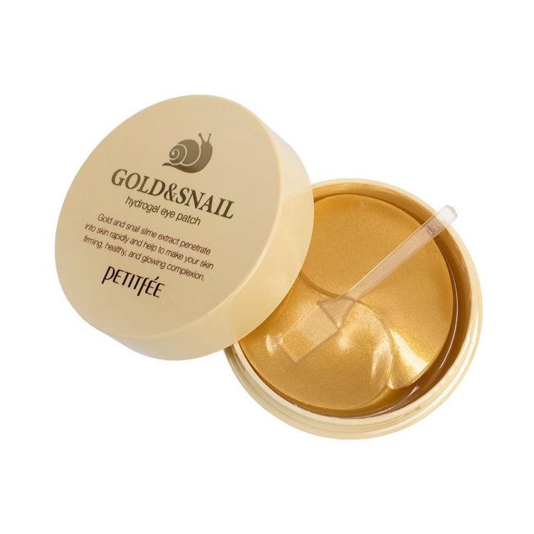 Изображение на ПАЧОВЕ ЗА ОЧИ С ЕКСТРАКТ ОТ ОХЛЮВ И ЗЛАТО PETITFEE Gold & Snail hydrogel eye patch 60бр.